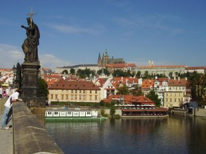 View of Prague castle and St Vitus Cathedral from Charles Bridge