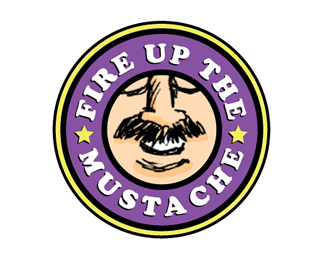 """Button with words """"Fire up the mustache"""""""