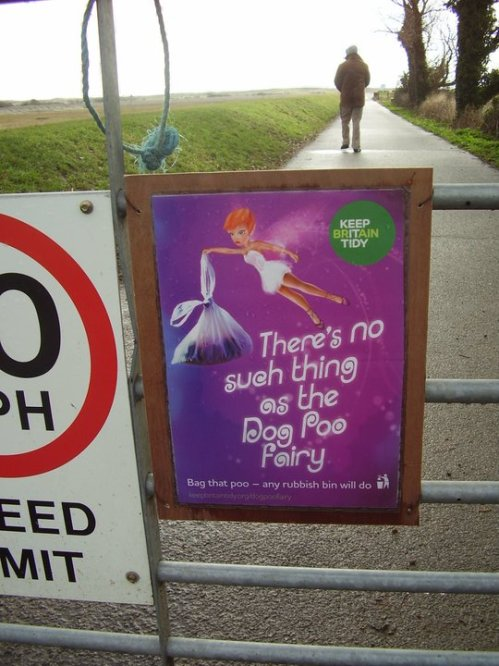 "Sign saying ""There's no such thing as the dog poo fairy"""