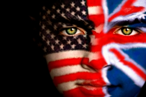 Boy with Union Jack and American flag painted on face