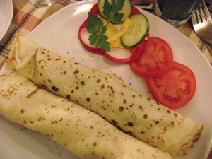 Pancakes filled with cheese