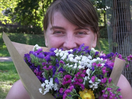 Kat with flowers