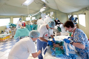 Red Cross field hospital in Haiti