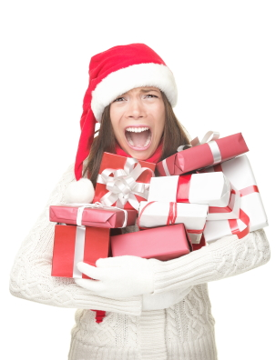 Stressed woman at Christmas